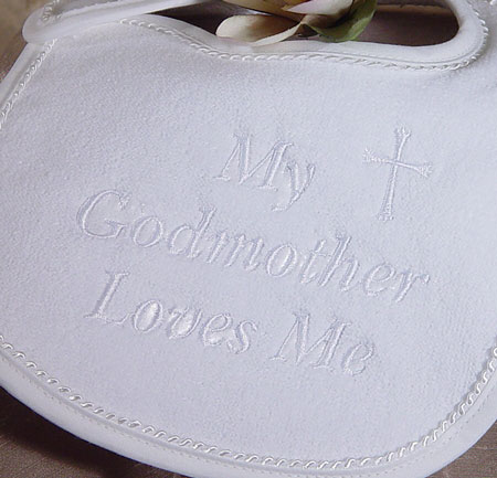 Close-Up Embroidery on Christening Bib