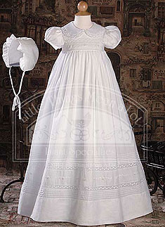 "CA55GS - 33"" Short Sleeve Gown with Hand Embroidery and Pin Tuc"