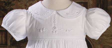 Detail View of Christening Gown Bodice