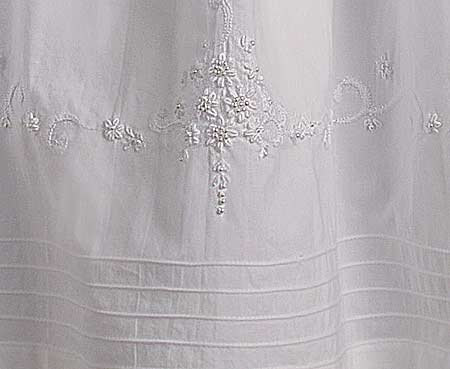 Detail View of Christening Gown Skirt