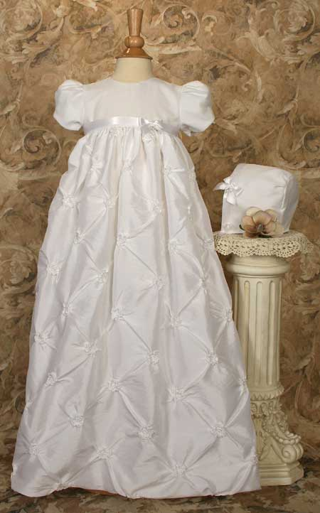 Close-up of Ruched Taffeta Christening Gown